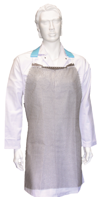 CHAINEXLITE metal mesh apron with X-​shoulder trap made of nylon