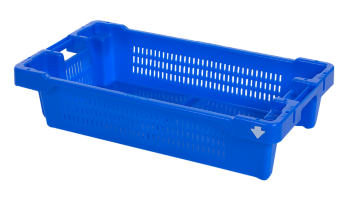 Fish box 20 kg / 35 l, nestable and stackable, perforated sides
