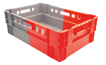 Stacking and nesting crate E2 EVO, perforated sides/bottom